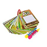 Tangomall Children Early Education Cognitive Drawing Cards, Water Painting Magic Doodle Card 26 Letters A-Z Alphabet with 2 Magic Pen Included, Beast Learning Toy for Toddlers Gift