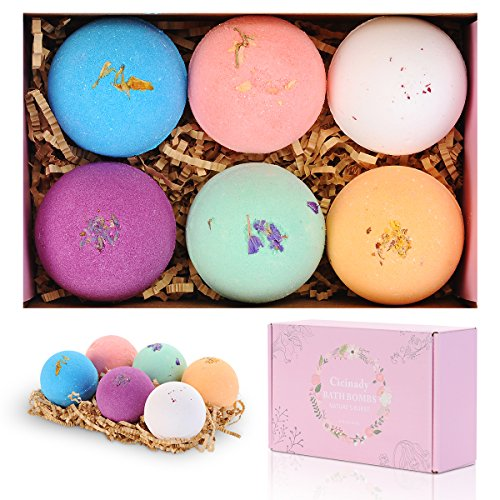 Bath Bombs Gifts Set By Cicinady - 6 x 2.8 Oz - Premium Handmade Essential Oil Spa Bomb Fizzies - For Moisturizing, Relaxation Yoga and Fun, Gift idea-Natural & Lush Bath Bomb Kit for All Ages (Valentimes Gifts)