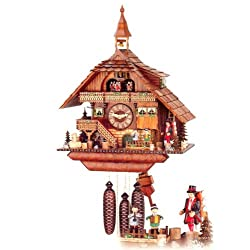 Original Eight Day Movement Musical Cuckoo Clock with Turning Mill Wheel, Moving Musicians and Clock Peddler 22 Inch