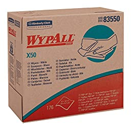 Wypall X50 Disposable Wipers (83550), Strong for Extended Use, POP-UP Box, White, 10 Boxes / Case, 176 Sheets / Box, 1,760 Sheets / Case