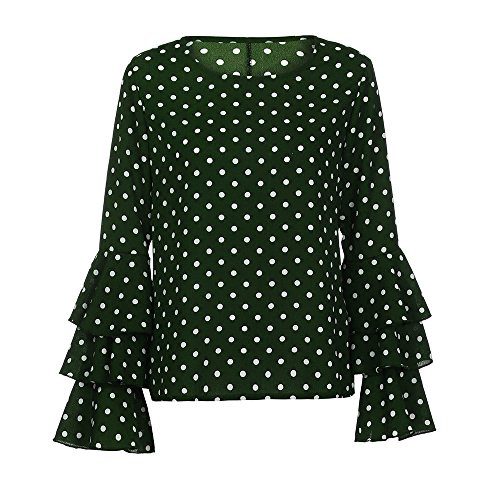 Cloche Dot Vert Tee Manche Shirt Longues Blouse Tunique Rond Vintage Retro Loose MORCHAN Chemise Chic Ladies Polka Femme T Casual Col Shirt Tops wFZq8AB6