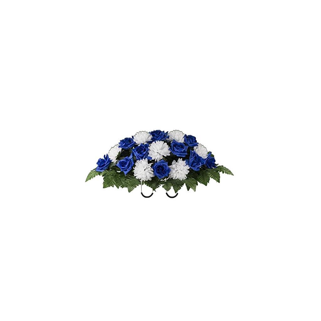 Blue-Rose-and-White-Mum-Artificial-Saddle-Arrangement-SD2159