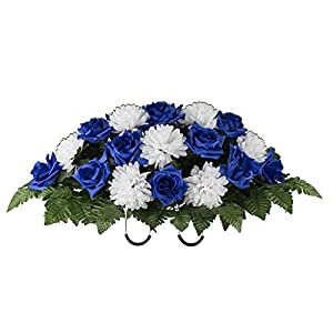 Blue Rose and White Mum Artificial Saddle Arrangement (SD2159) 7