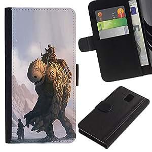 JackGot ( Monster Piedra ) Samsung Galaxy Note 3 III la tarjeta de Crédito Slots PU Funda de cuero Monedero caso cubierta de piel