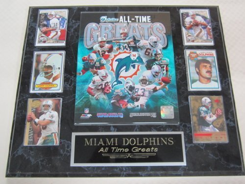 Dolphins All Time Greats 6 Card Collector Plaque w/8x10 Color Photo (1972 Miami Dolphins 8x10 Photo)