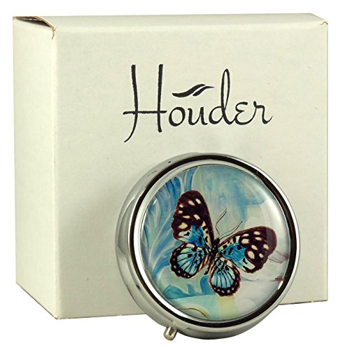 Houder Designer Pill Box Decorative Pill Case with Gift Box - Carry Your Meds in Style (Blue Butterfly)