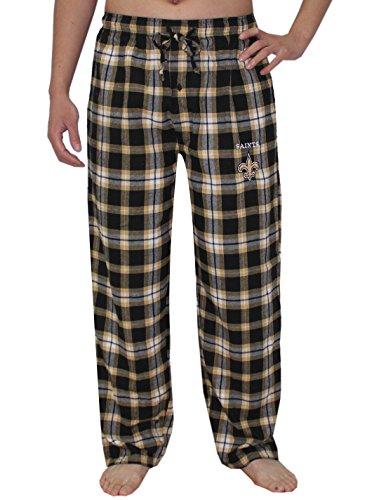 NFL Mens Team Logo Fall / Winter Plaid Pajama Pants - NEW ORLEANS SAINTS M Black - New Orleans Saints Legend