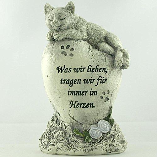 Katzen Deko Gedenkstein Was wir lieben, tragen wir für immer im Herzen. Höhe 15,5cm