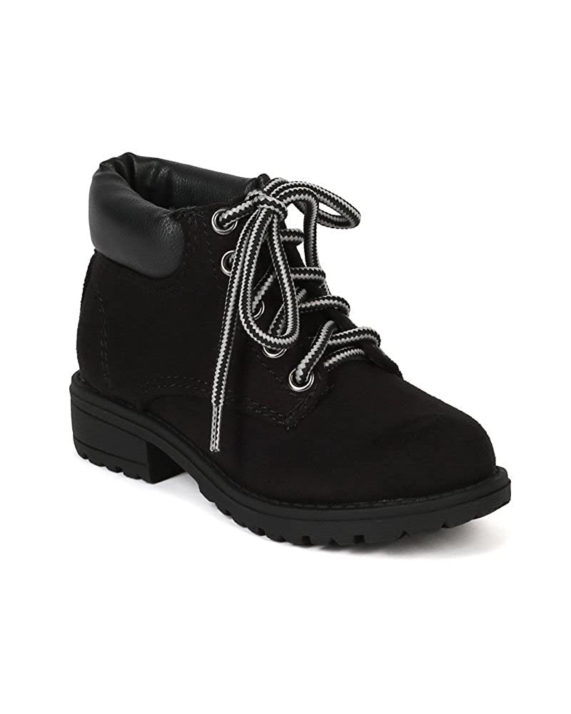 BD14 Black Toddler//Little Girl//Big Girl Faux Suede Designer Round Hard Toe Two Tone Ankle Bootie