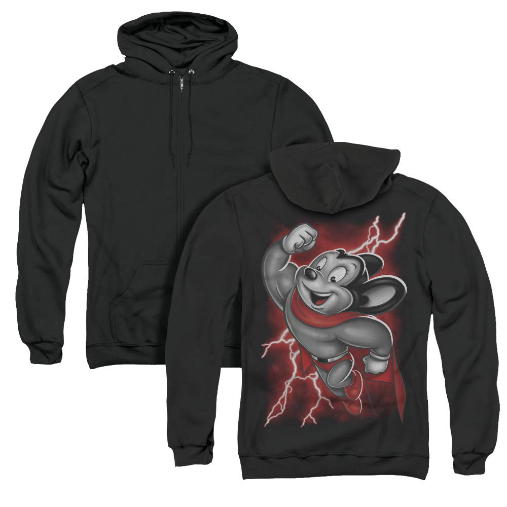 Mighty Mouse Mighty Storm Unisex Adult Zipper,  Back Print Shirts