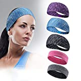 Sports Headbands - 5 Packs Headbands Set 2 Non-slip Bands and 3 Wide Headbands Sweatbands Moisture Wicking Athletic Wristbands for Men and Women Perfect for Yoga Running and Any sports