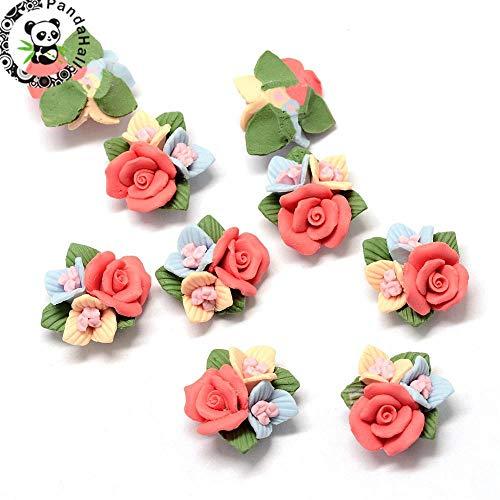 (Calvas 50pcs Fashion Jewelry Handmade Porcelain Cabochons, China Clay Beads, Flower, Tomato Color, 21~24x22~23.5x12~12.5mm)