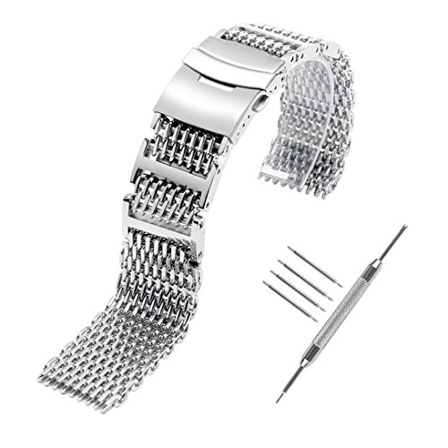 (YISUYA Shark MESH 22MM Full Stainless Steel Watch Band Heavy Duty Diving Dive Watch Strap)