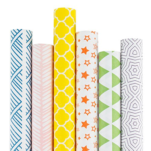RUSPEPA Kraft Gift Wrapping Paper Multi Color Printed Wrapping Paper for Birthdays Valentines Christmas6 Roll30Inch X 10Feet Per Roll