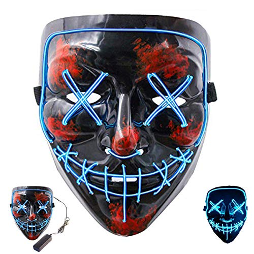 Top 100 DJs Music Festival Mask,Halloween Scary Mask Led Cosplay Costume Mask EL Wire Light up Mask for Halloween Festival Parties(Blue -
