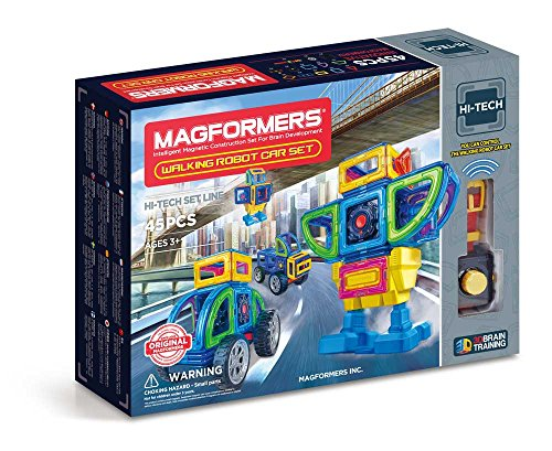 Magformers Walking Robot Car (45 Pieces) Set, Rainbow Magnetic    Building      Blocks, Educational  Magnetic    Tiles Kit , Magnetic    Construction  STEM Toy Set includes wheels -
