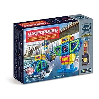 Magformers Walking Robot Car (45 Pieces) Set, Rainbow Magnetic Building Blocks, Educational Magnetic Tiles Kit , Magnetic Construction STEM Toy Set includes wheels