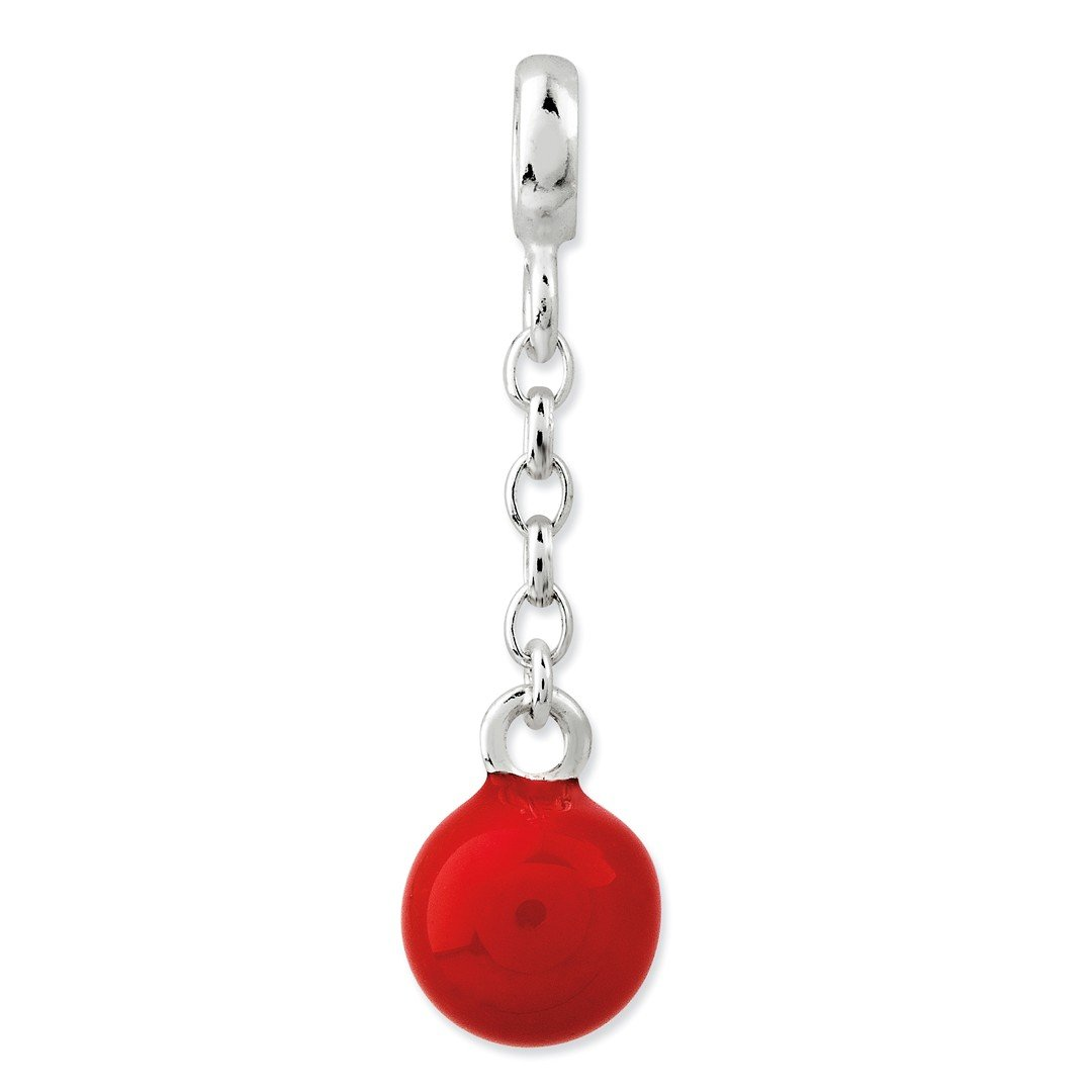 ICE CARATS 925 Sterling Silver Red Enameled Bead 1/2in Dangle Enhancer Necklace Pendant Charm Fine Jewelry Ideal Gifts For Women Gift Set From Heart