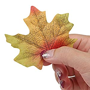 Naler Artificial Maple Leaves, Fall Colored Silk Maple Leaves Autumn Fall Leaves Bulk for Art Scrapbooking, Weddings, Autumn Party, Events and Decorating, 300pcs 4