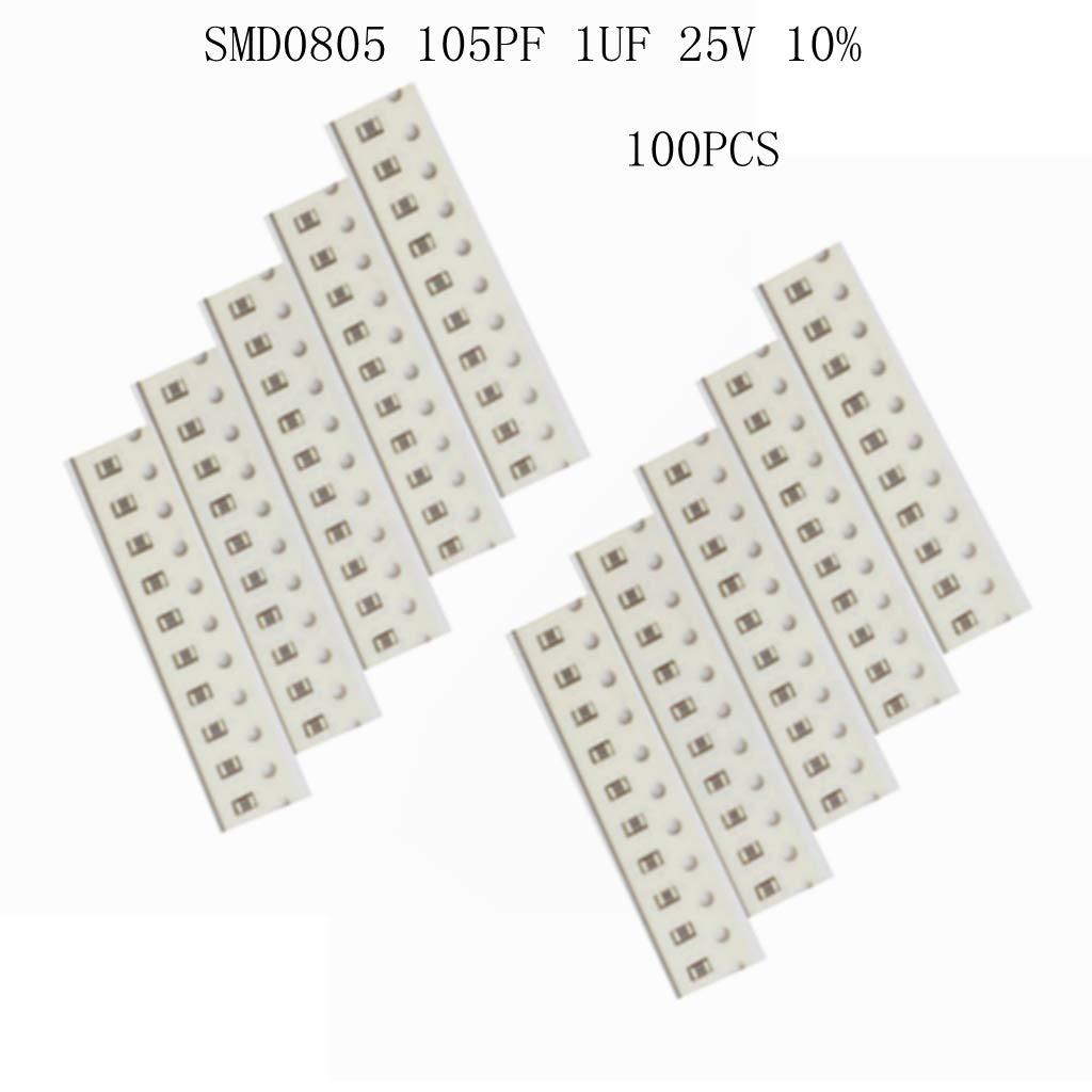100 PZ SMD 0805 22nf 1UF 105K Condensatore 25 V 10/%