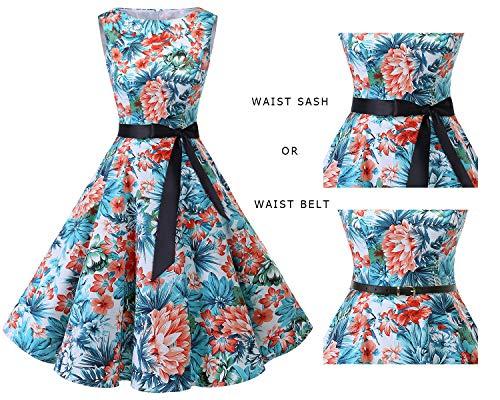 Blue Vintage Bbonlinedress Rockabilly Women's Dress Flower Audrey Summer Swing 1950s Red I8wR8qrS