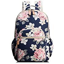 Leaper Waterproof Canvas + PVC Layer School Backpack Cute Floral Laptop Bag Casual Daypack Large White