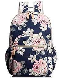 Leaper Cute Women Book Bag Girls Laptop Canvas Backpack for Kids Daypack Rucksack Navy Blue