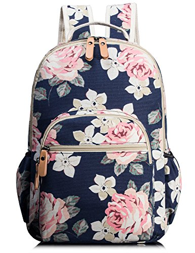 School Bookbags for Girls, Cute Floral Laptop Backpack College Bags Light Daypack by Leaper (Floral Dark Blue)