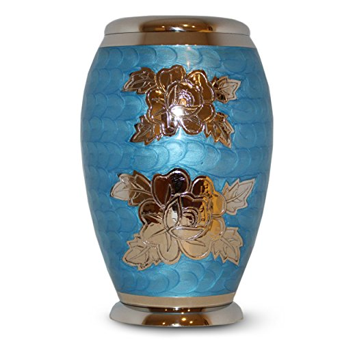 Classico Memorials - Cremation Funeral Urn for Human Ashes - Suitable for Burial (Blue Rose) - Rose Design Urn