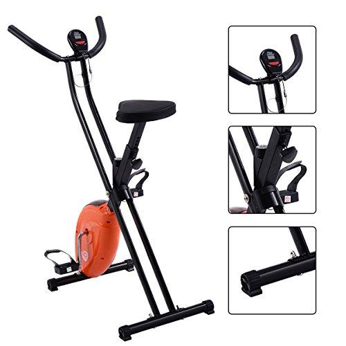 Gymax Folding Cardio Fitness Upright Exercise Bike X Shape Magnetic Stationary Cycling Bike (Orange)