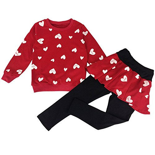 lothing Set Outfit Heart Print Hoodie Top+Long Pantskirts 2pcs 140(7-8Y), Red (3 Heart)