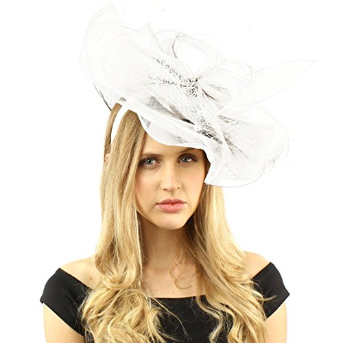 SK Hat shop Sinamay Ribbon Netting Fascinators Headband millinery Cocktail Derby Hat White (Womens Shop)