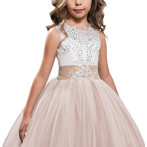 Girls Prom Pageant Ball Gown Tulle Champagne Lace Flower Girl Dresses for Wedding with Long Train US14 by Geshun