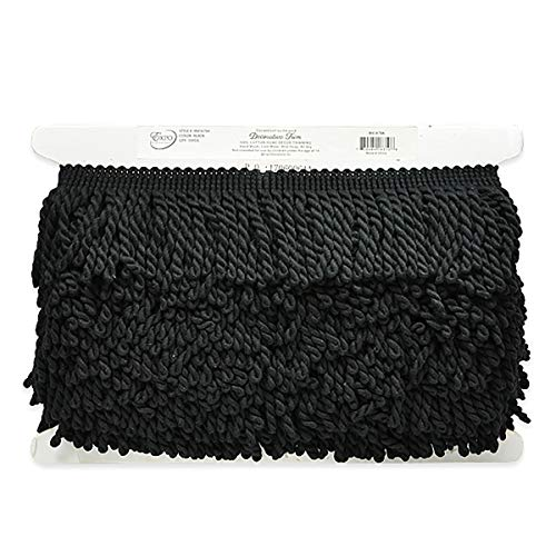 3in Cotton Bullion Fringe Trim Black (Precut 10 Yard)