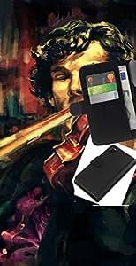 """A-type (Holmes violín Pintura"""") Colorida Impresión Funda Cuero Monedero Caja Bolsa Cubierta Caja Piel Card Slots Para Sony Xperia Z3 D6603"""