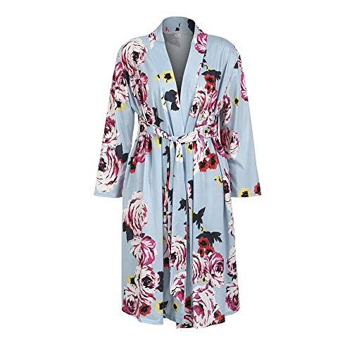 Women Floral Print Maternity Labor Delivery Robe Breastfeeding Nursing Nightgowns Gown in Hospital (Blue, L)