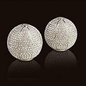 L'Objet Platinum Salt & Pepper Shakers, White Swarovski Crystals