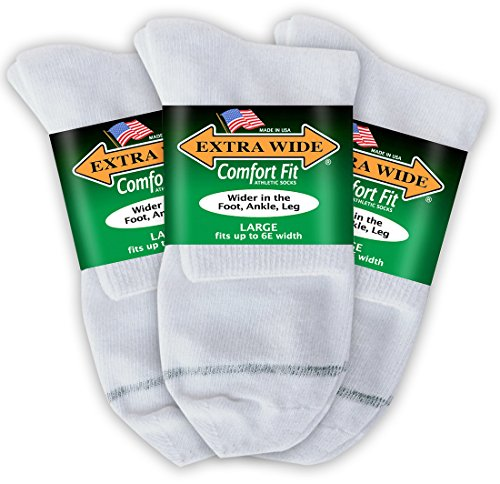 Extra Wide Comfort Fit Athletic Quarter (Anklet) Socks for Men - White - Size 12-16 (up to 6E wide) - 3PK