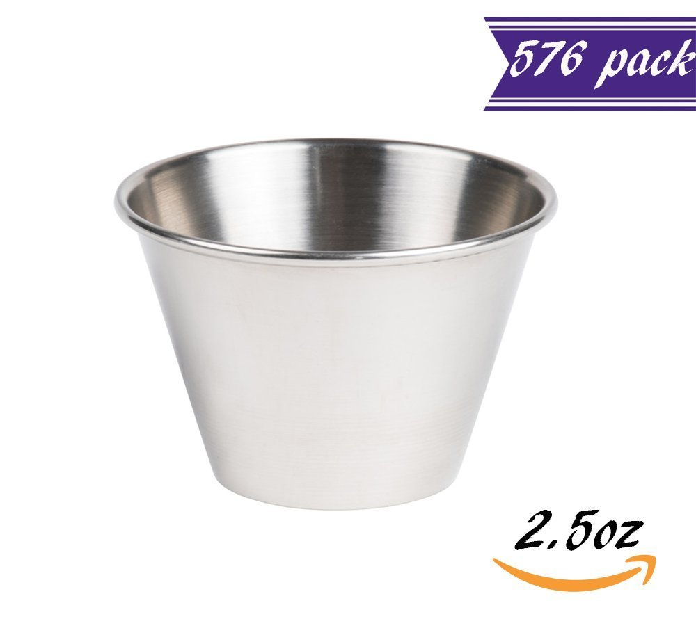 (576 Pack) Stainless Steel 2.5 oz Ramekins, Individual Condiment Sauce Cups / Portion Cups - 2 1/2 ounces, Commercial Dressing Cups, Set of 576 by Tezzorio Tabletop Service