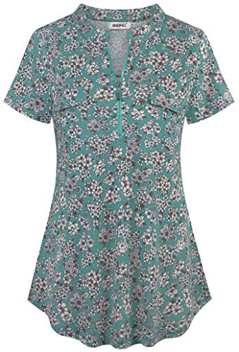 BEPEI Tunics for Women,Trendy Ladies Tops to Wear with Leggings Summer Casual Loose Fitting Blouse Loft Soft Comfy Vintage Floral Printed Elastic Drapes Hem Shirt for Teen Girls Light Green L