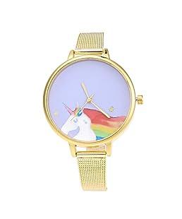 Prosperveil Cute Cartoon Horse Pattern Women Casual Mesh Strap Quartz Wrist Watch (1)