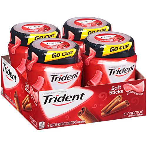 Trident Unwrapped Cinnamon Sugar Free Gum - 50 Piece Bottles (Pack of 4) by Trident