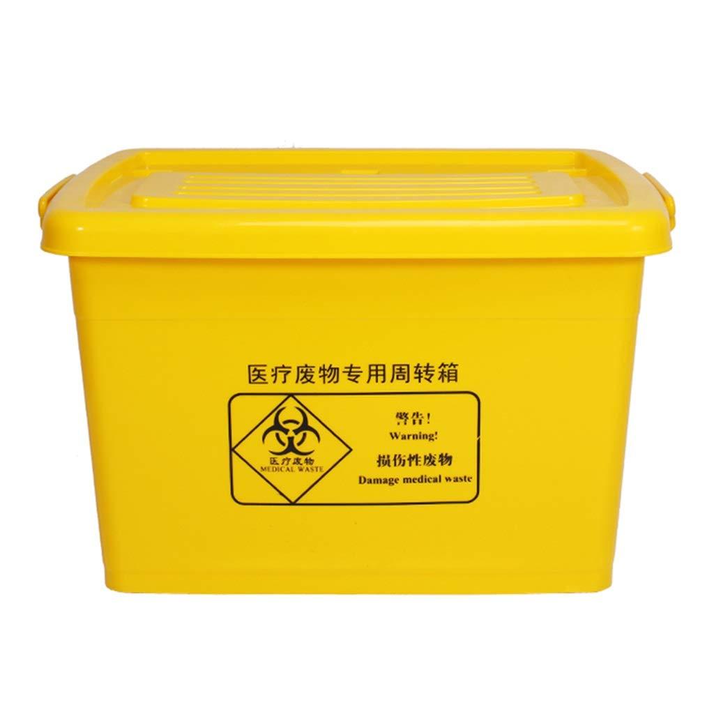 CSQ Yellow Wheeled Trash Can, 40L / 60L / 100L Hospital Turnover Box, Hospital Clinic Laboratory Trash Can Indoor