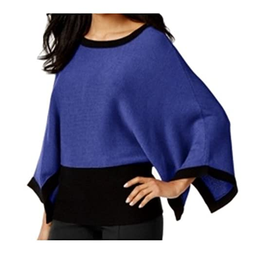 Alfani Purple Colorblocked Poncho Sweater French Plm Combo Small At