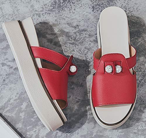 Chaussure Mignon Compensée Rouge Mules Epais Femme Easemax Strass EwgUUq
