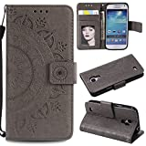 Galaxy S4 Mini Floral Wallet Case,Galaxy S4 Mini Strap Flip Case,Leecase Embossed Totem Flower Design Pu Leather Bookstyle Stand Flip Case for Samsung Galaxy S4 Mini-Grey