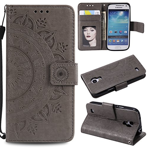 Galaxy S4 Mini Floral Wallet Case,Galaxy S4 Mini Strap Flip Case,Leecase Embossed Totem Flower Design Pu Leather Bookstyle Stand Flip Case for Samsung Galaxy S4 Mini-Grey by Leecase
