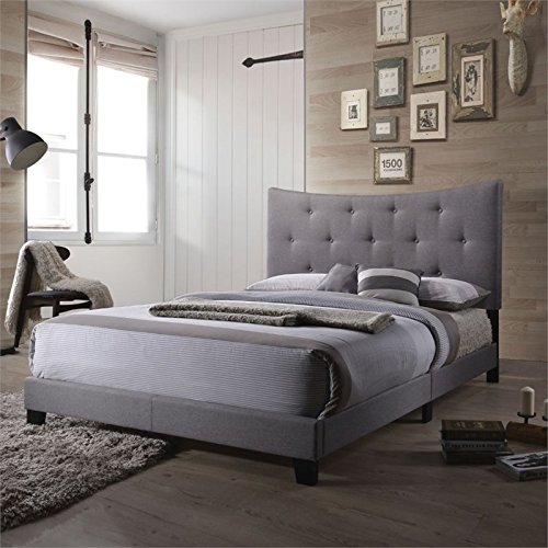 ACME Furniture 26360Q Venacha Bed, Queen, Gray Fabric by Acme Furniture