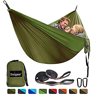 Unigear Double Camping Hammock, Portable Lightweight Parachute Nylon Hammock with Tree Straps for Backpacking, Camping, Travel, Beach, Garden (Oliver Green/Army Green, 320x200): Sports & Outdoors