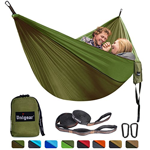 Unigear Single & Double Camping Hammock, Portable Lightweight Parachute Nylon Hammock with Tree Straps for Backpacking, Camping, Travel, Beach, Garden For Sale